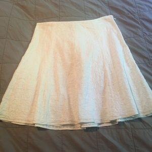 J Crew White Embroidered Eyelet A Line Skirt 8